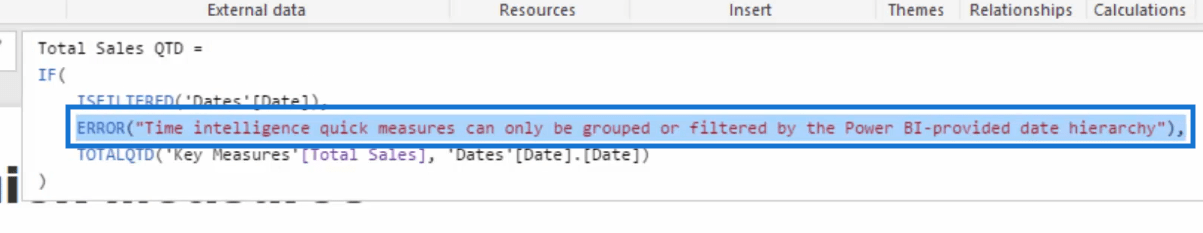 error in the formula
