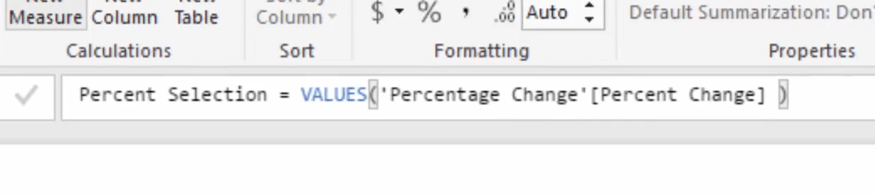 Using values function to harvest values from a slicer in Power BI