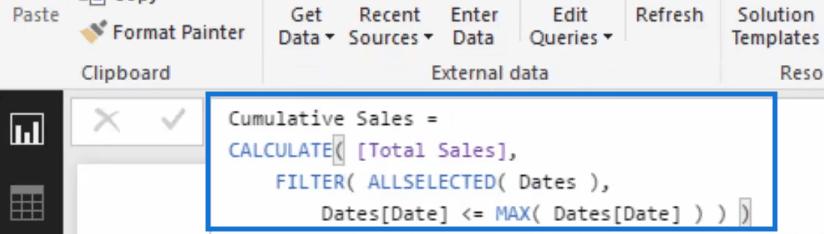 cumulative sales measure in power bi