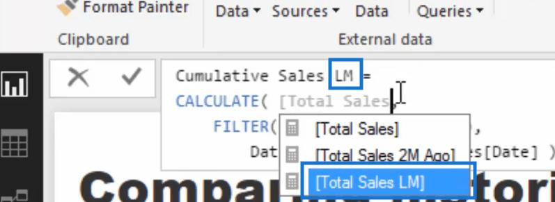 cumulative sales last month measure in power bi