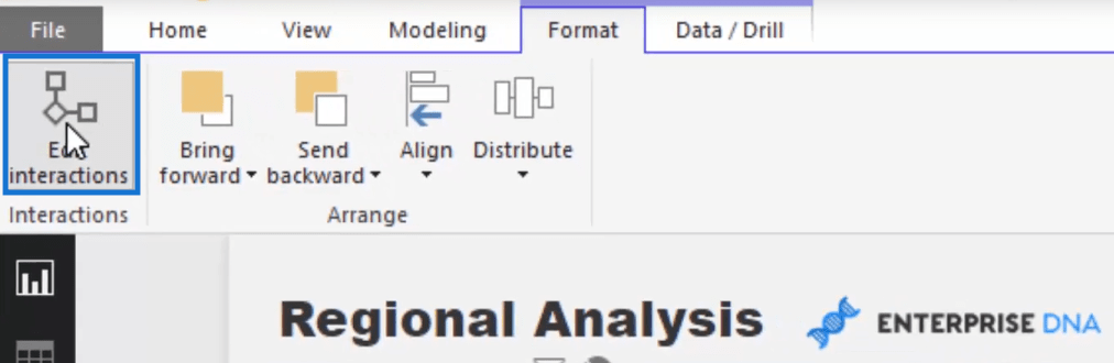 how to adjust virtual interactions in power bi