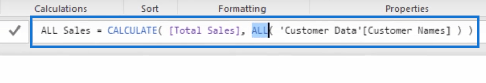 Using ALL function in computing all sales