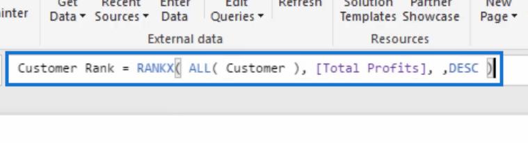 customer rank formula with rankx for customer ranking in Power BI