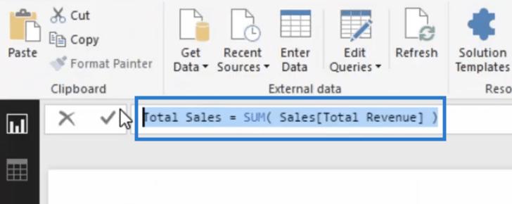Calculating Total Sales as the initial step in the Cumulative Total pattern in Power BI