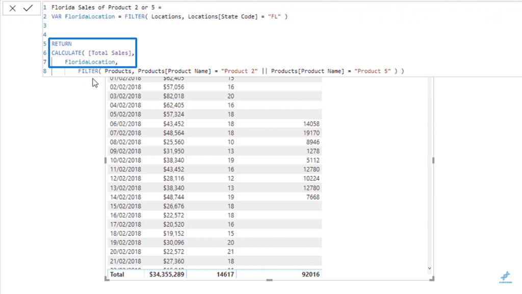 Using FloridaLocation variable inside CALCULATE