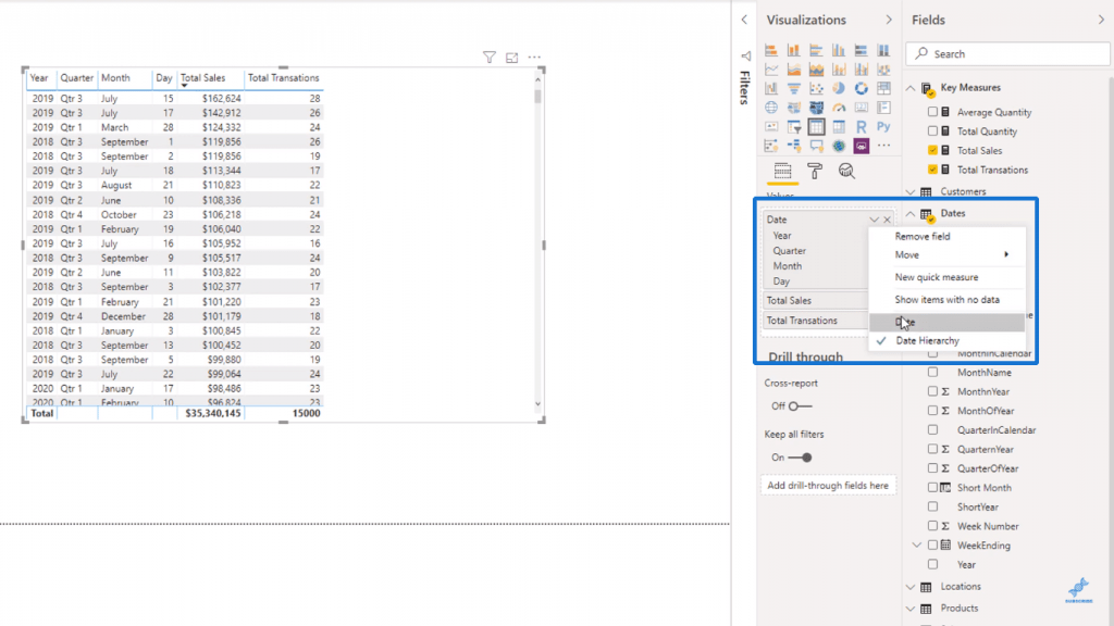 Removing the Date Hierarchy - Power BI Syntax