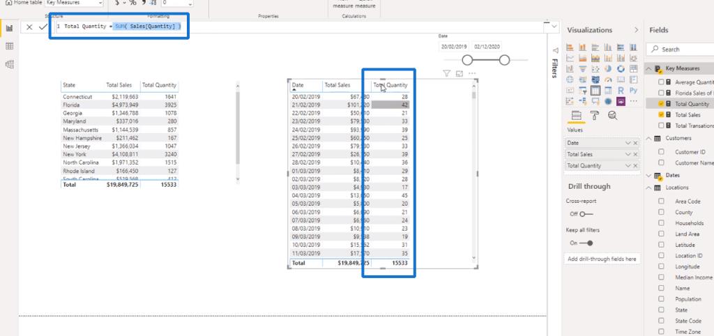 The Total Quantity measure - DAX Power BI