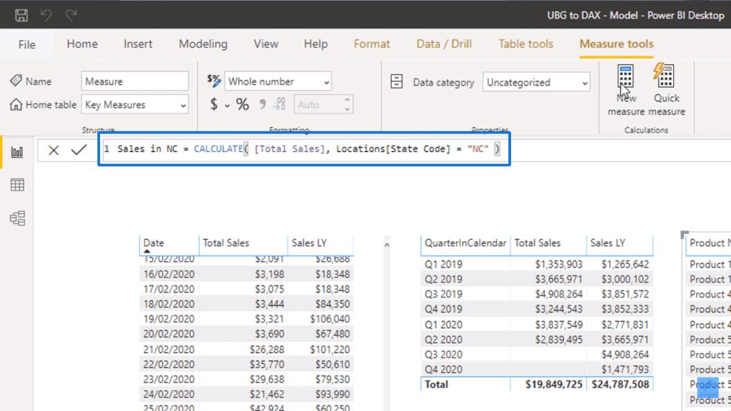 Creating Sales in NC measure