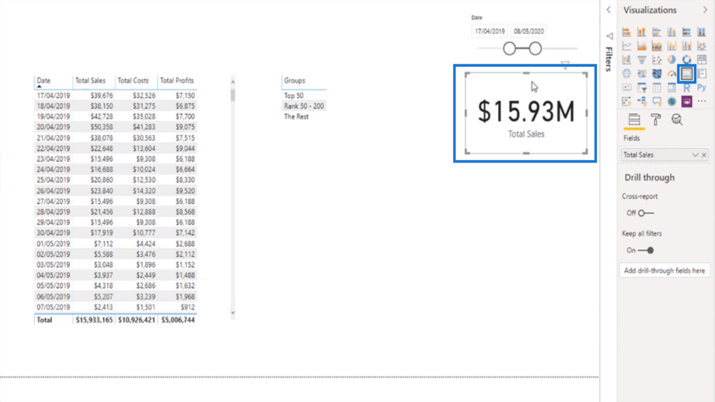 Visualizing total sales as a card