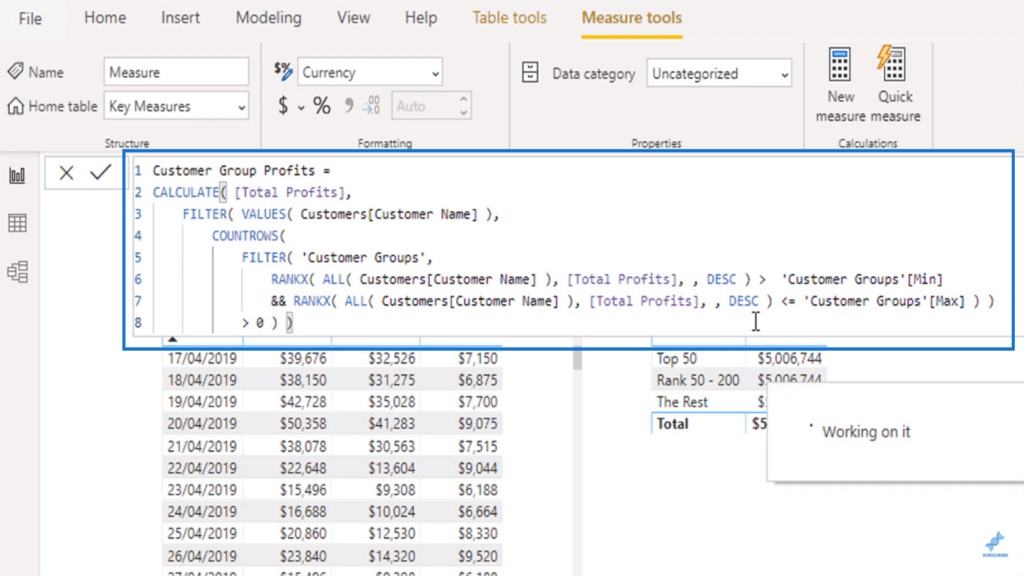 The advanced dax function used to run logic through the supporting table