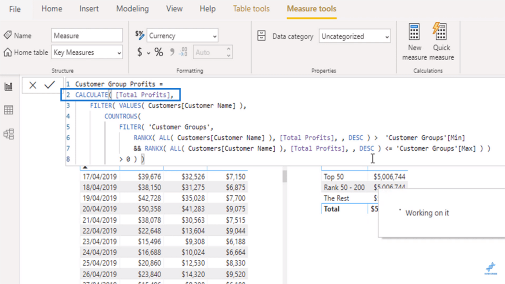 The CALCULATE function used in the advanced dax function