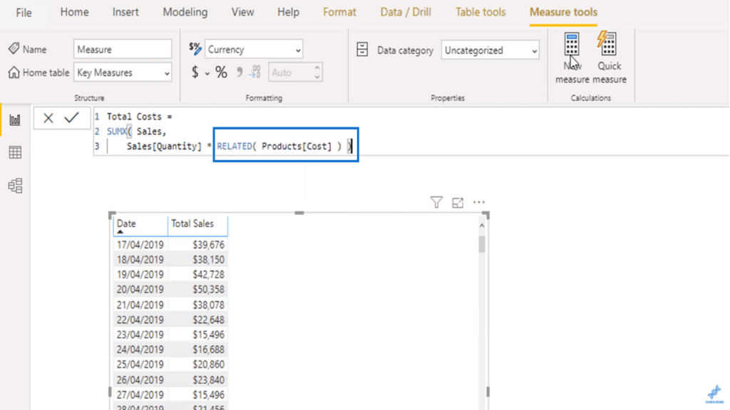 The RELATED function retrieving values from the Cost column