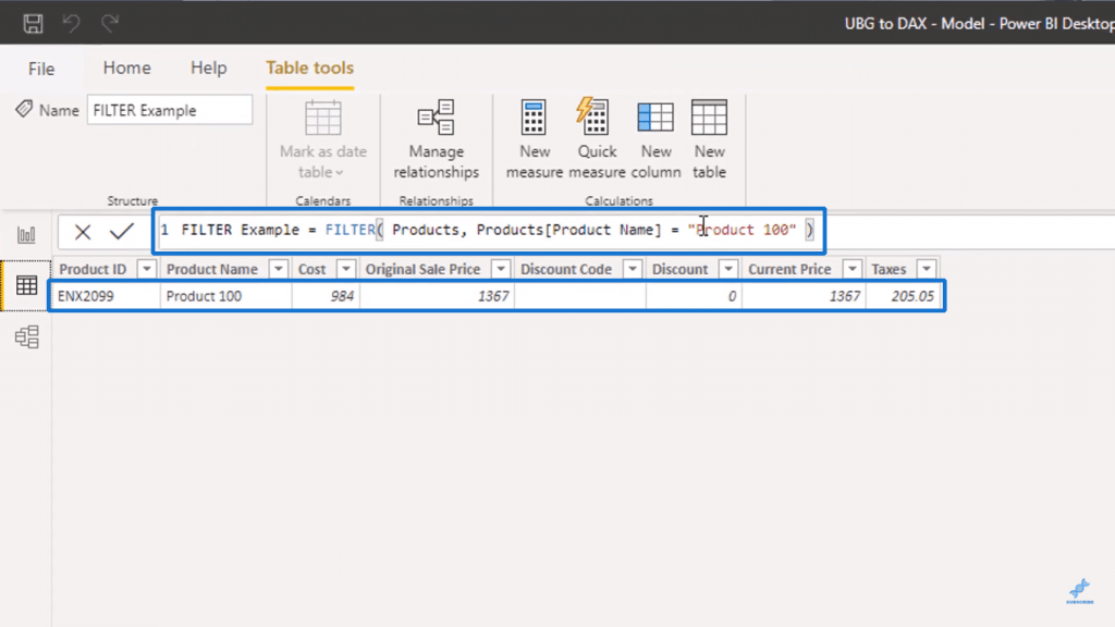 Filtering Products table to Product 100 - Table in Power BI
