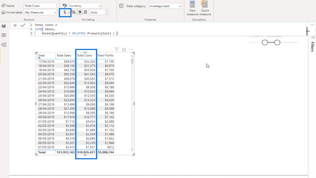 Formatting the columns to make values appear as currency
