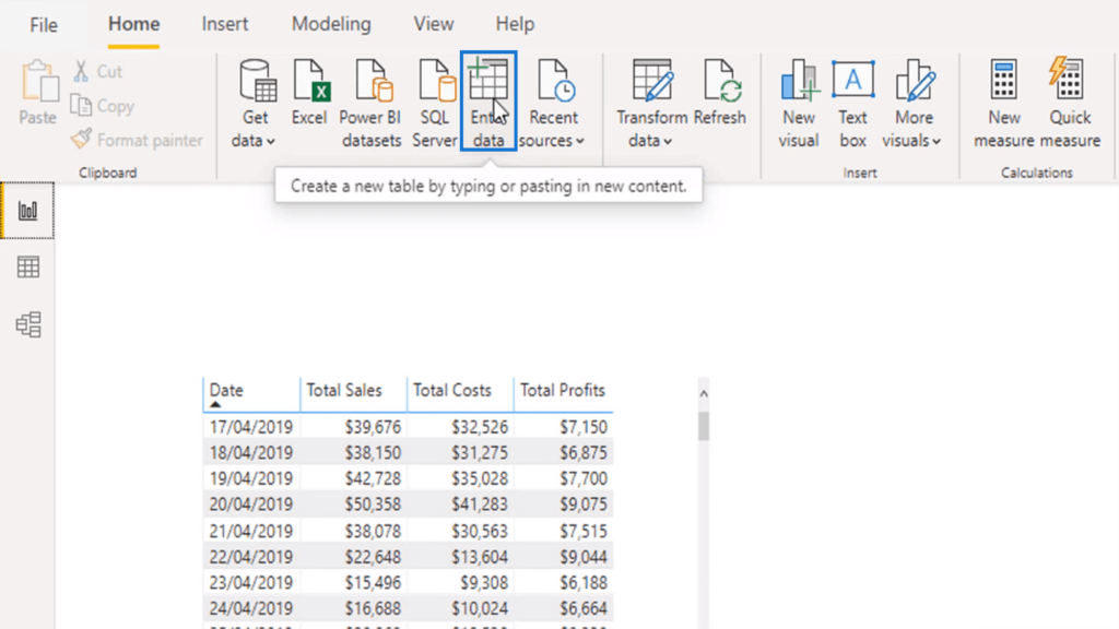 Click enter data to create a supporting table for advanced dax functions