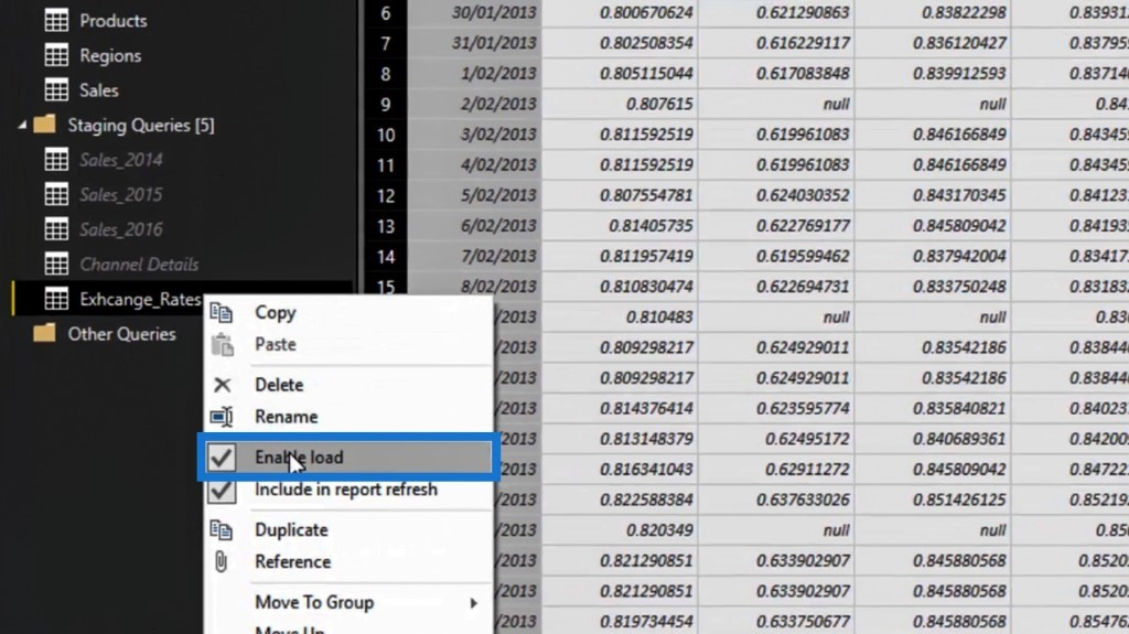 disabling the load option  for unpivoting columns in Power BI