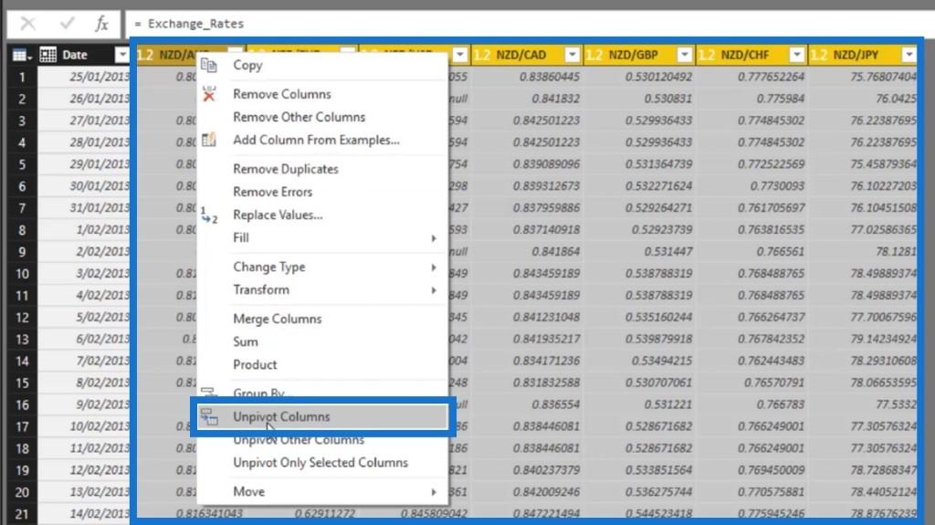 unpivot columns in Power BI via unpivot columns option