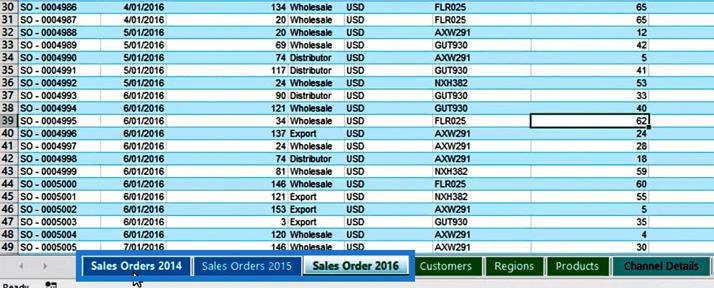 Sales Orders tables