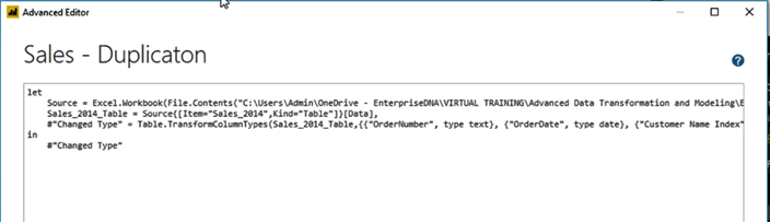 result of duplicated queries in power BI