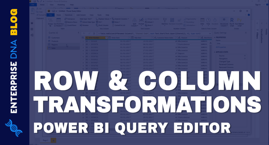 Power BI Query Editor Row and Column Transformations