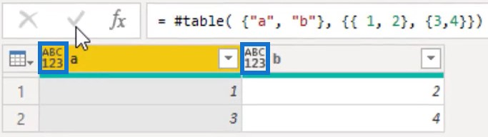 Table value