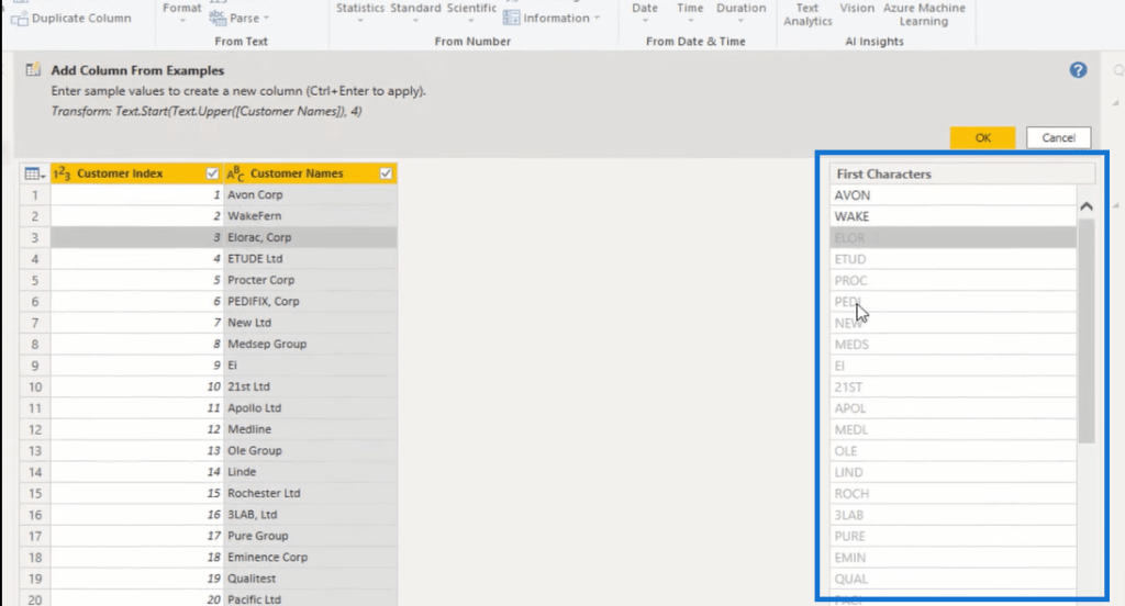 column from examples power bi