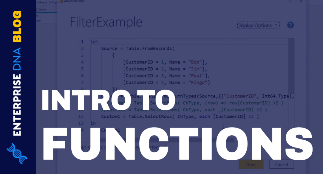 Function Query And Operators In The Query Editor